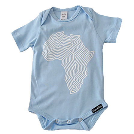 Africa lap neck onesie/tee blue