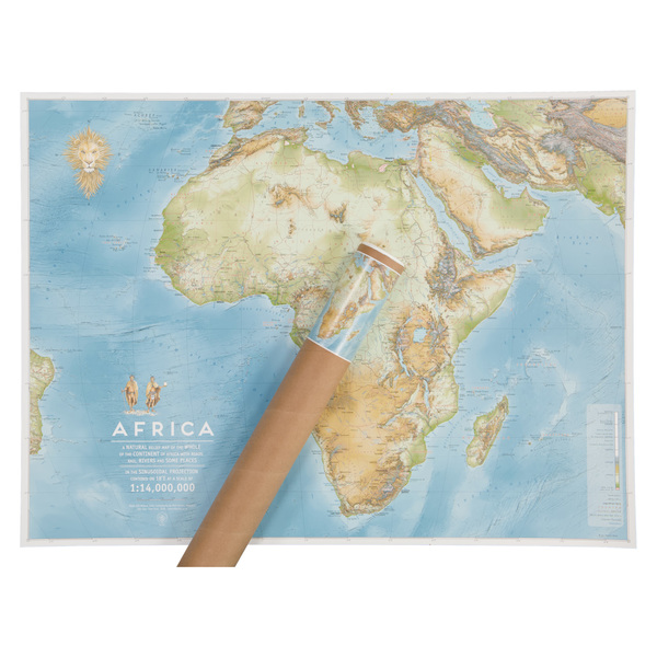 Size: 930 x 690mm  The African mainland is roughly as many steps from North to South as it is from East to West. We chose the landscape view to comfortably include the island nations of Africa. Printed on 200gsm Coated Art paper. 3rd edition now available, slightly bigger, and showing the ocean's bathymetry -- updated photos coming soon.  Country borders are included, as are primary roads & railways, capitals and major towns. All this at the scale of 1:14,000,000