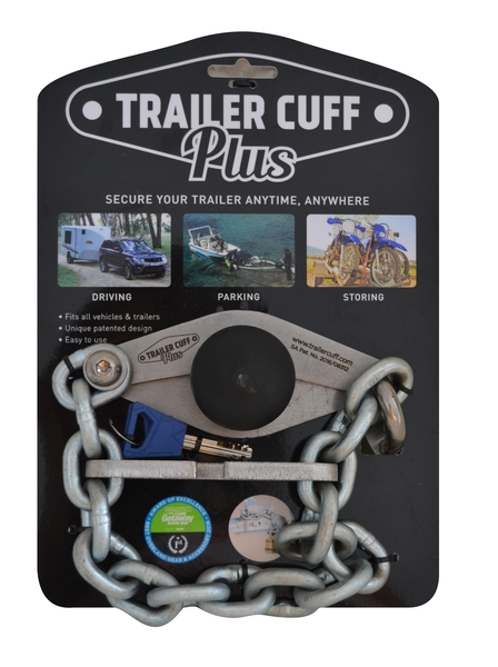 The Trailer Cuff Plus provides for more movement around the tow ball than the standard Trailer Cuff. It is more suitable for use with off-road, 4x4 trailers, launching ski-boats etc. It also provides more security than the standard Trailer Cuff with 6 mm base plates, an 8 mm chain and a 8 mm thick TC+ Link. The Trailer Cuff Plus will enable you to secure any closed loop or open handle trailer coupler.