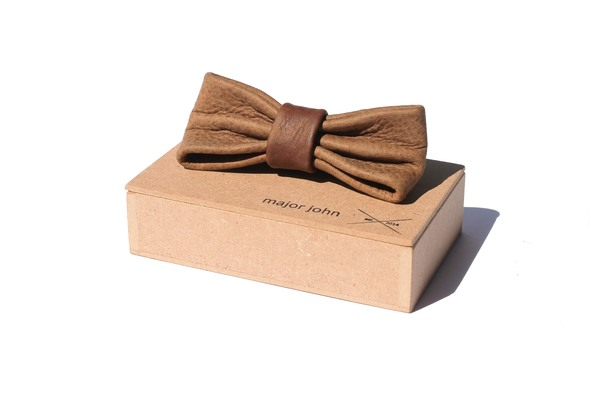 Brown & Grey-Brown Genuine Leather Bow Ties